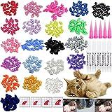 VICTHY 100pcs Cat Nail Caps, Cat Claw Caps Covers...