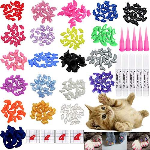 VICTHY 100pcs Cat Nail Caps, Cat Claw Caps Covers with Glue and Applicators