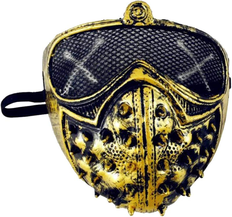 WYDM Halloween punk mask demon mask rivet death cool mask (color   gold)