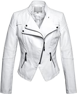 chouyatou Women's Fashion Tailored Zip-Up Faux Leather Quilted Racer Jacket