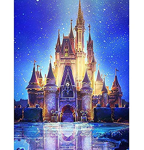 ACANDYL Paint by Number Castle DIY Oil Painting Paint by Number Kit for Kids Adults Students Beginner DIY Canvas Painting by Numbers Acrylic Oil Painting Home Decoration Castle 16x20 Inch