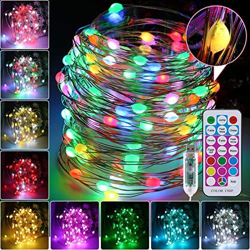 Stringa luci fatate natalizie 10M 100 LED USB lucine al coperto con 8 colori, luci a LED per interni per Natale Festa di nozze di Pasqua Applique da parete stellata Decorazione natalizia per la casa