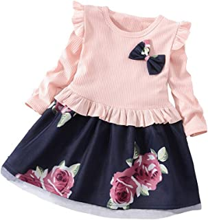 Julhold Sommer Kleinkind Baby Kinder M/ädchen Elegant Spitze Blumendruck Kleid Prinzessin Kleider Freizeitkleidung 1-5 Jahre
