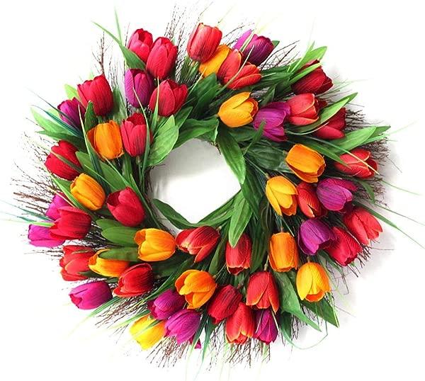 18 Inch Blush Tulip Front Door Wreath Artificial Flower Tulip Stunning Spring Door Wreath Floral Garland For Front Door Mother Day S Wreath