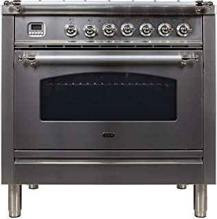 Ilve UPN90FDMPIX Nostalgie Series 36 Inch Dual Fuel Convection Freestanding Range, 5 Sealed Brass Burners, 3.55 cu.ft. Total Oven Capacity in Stainless Steel, Chrome Trim (Natural Gas)