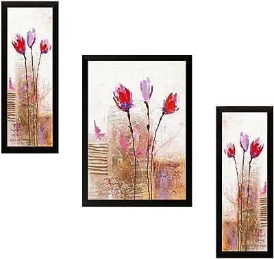 SAF Diwali Gift for Home UV Textured Flower Print Framed Art Print Painting Set of 3 for Home Decoration – Size 35 x 2 x 50 cm SANFSW9152