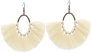 Fan Tassel Earrings, Handwoven Rattan Earrings, Wooden Straw Earring for Women