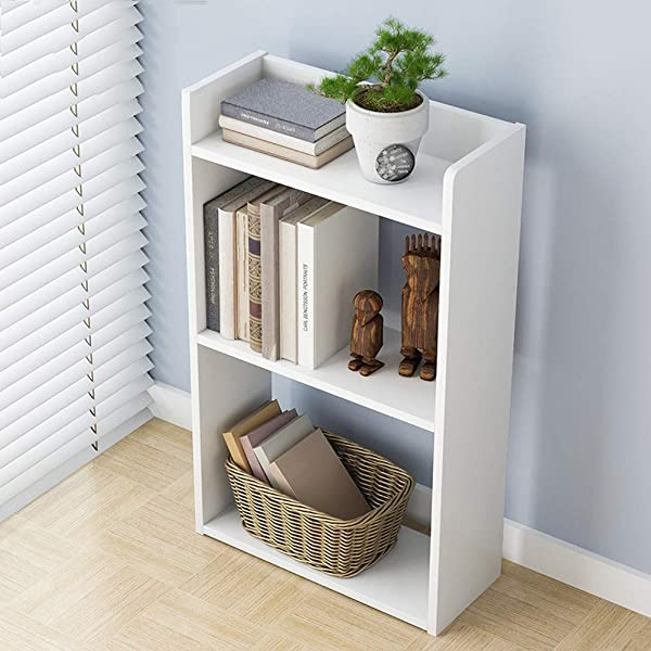 TKI S 3 Layer Simple Floor Bedroom Shelf Creative Free Combination Small Bookcase Bookshelf White 11 8 X 6 7 X 23 7 Inches