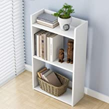 TKI-S 3-Layer Simple Floor Bedroom Shelf - Creative Free Combination Small Bookcase Bookshelf (White, 11.8 x 6.7 x 23.7 inches)