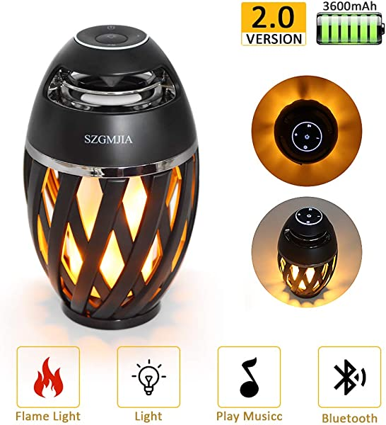 LEDMEI Led Flame Speaker Flame Torch Atmosphere Speaker Bluetooth 4 2 Wireless Portable Outdoor HD Audio Waterproof Speaker With LED Flickers Warm Night Lights For IPhone IPad Android