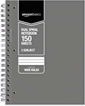AmazonBasics Wide Ruled Wirebound 3-Subject 150-Sheet Notebook - Pack of 3, 10.5 x 8 Inch, Grey / Green / Blue