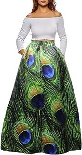 peacock print maxi skirt