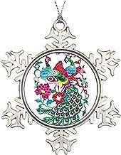 Diuangfoong - �rbol de Navidad Personalizable con Elemento Chino de Pavo Real Cortado con Papel de Copo de Nieve