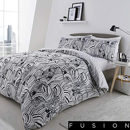 Fusion Zebra Print Reversible Duvet Cover Set, Charcoal, Double