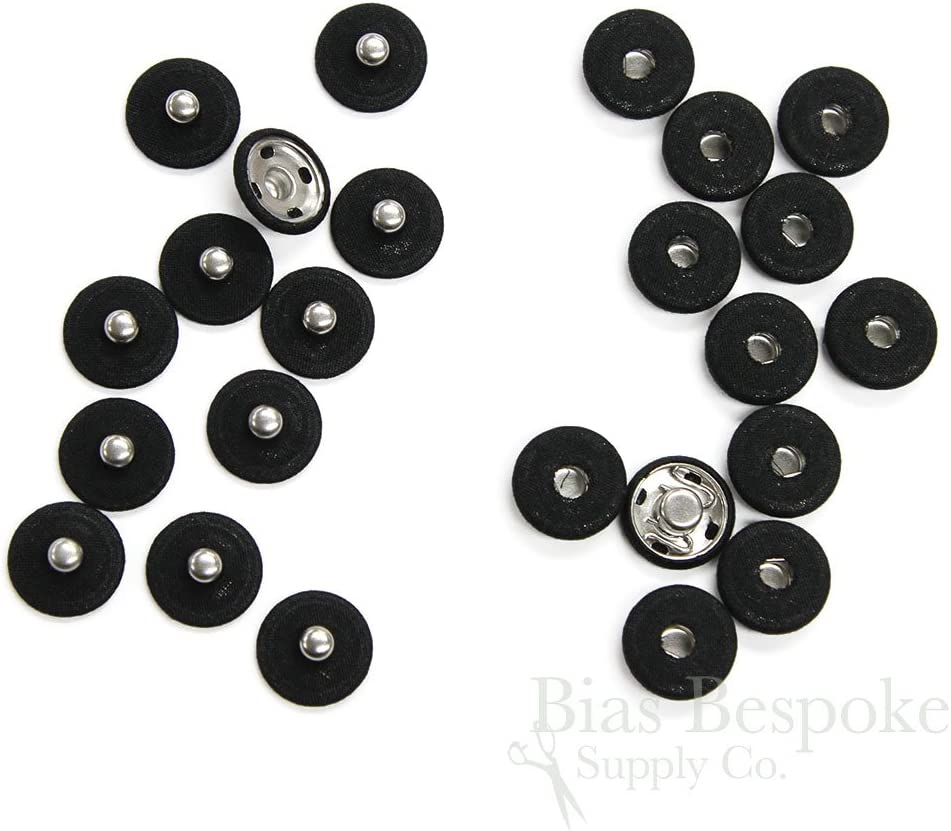 Set of 12 15mm Black Fabric-Covered Sew-on Metal Snaps