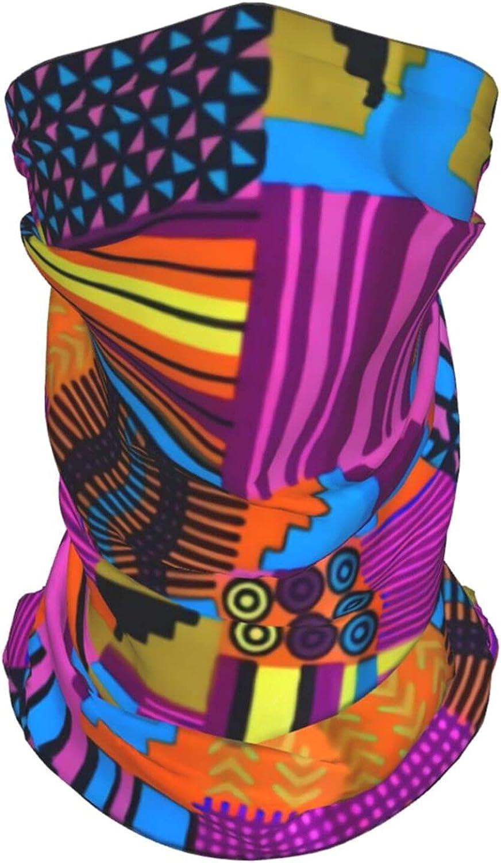 Kente African Pattern2 Neck Gaiter Multipurpose Headwear Ice Silk Mask Scarf Summer Cool Breathable Outdoor Sport 4 Pcs