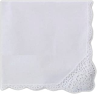 BT Fine Linen Dinner Napkins White Cotton Cloth with Crochet Lace and Scalloped Border 18 X 18 Inch (12 Pack)