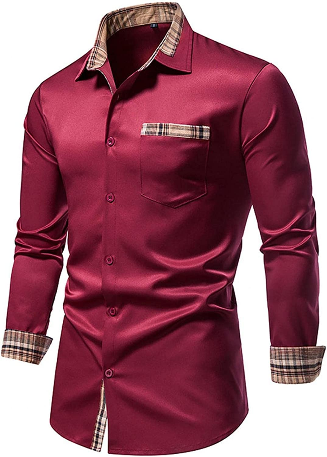 Huangse Men's Business Slim Fit Dress Shirt Long Sleeve Casual Fashion Patchwork Button Down Shirt with Pocket