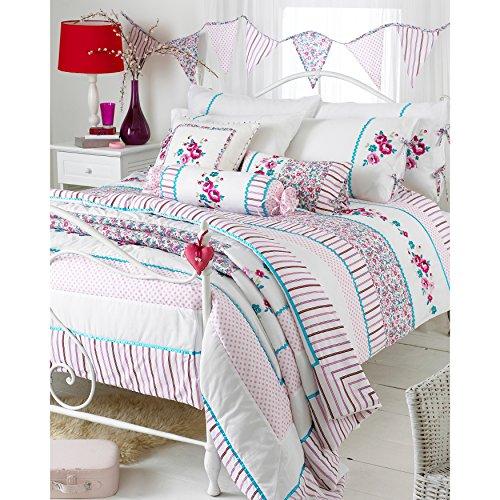 Riva Home Parure housse de couette 2 personnes Appleby Romany - motif floral - blanc / rose / bleu turquoise - 260 x 200 cm