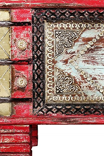 Orientalische Truhe Kiste aus Holz Chalil 80cm groß | Vintage Sitzbank mit Aufbewahrung für den Flur | Aufbewahrungsbox mit Deckel im Bad | Betttruhe als Kissenbox oder Deko im Schlafzimmer - 4