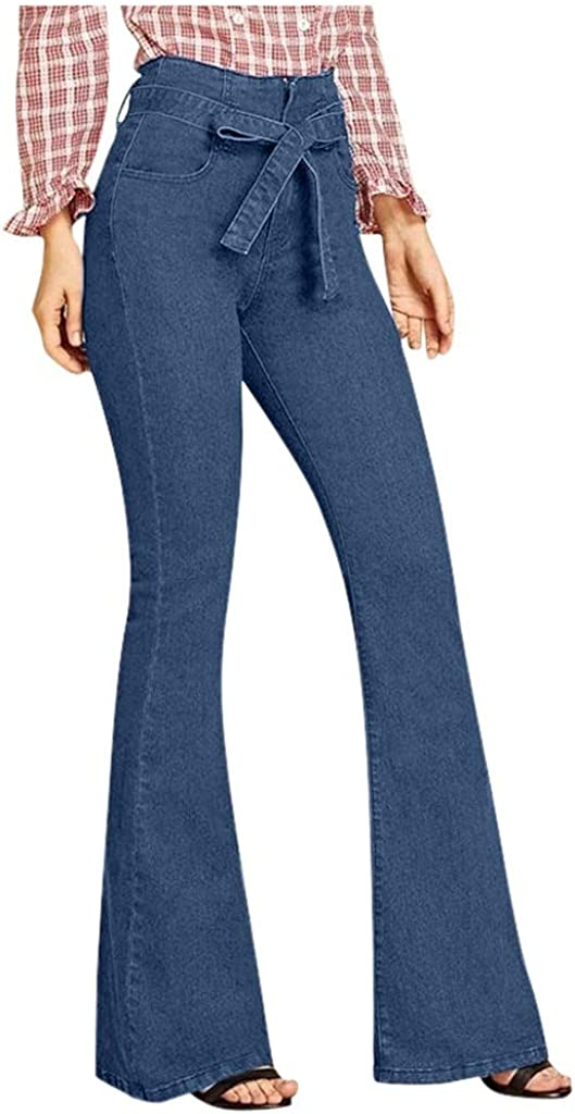 Forwelly High Rise Jeans Women Belt Bow Front Flare Denim Pant Slim Fit Tight Trousers Stretchy Full Length Pants