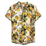 NEWISTAR Los hombres de lino Henley camisas de manga corta cuello de bandas camisa hawaiana verano casual vintage étnica Tops ropa
