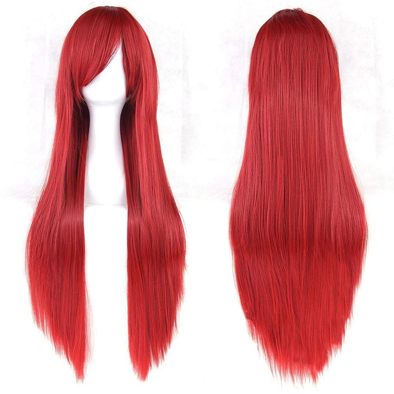 備品関係蜂女性用ロングナチュラルストレートウィッグ31インチ人工毛替えウィッグサイド別れハロウィンコスプレ衣装アニメパーティーロリータウィッグ (Color : 赤)