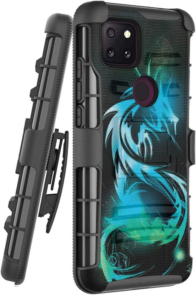 Ohiya Case Compatible for T-Mobile Revvl 5G [Military Grade Hybrid Shockproof Heavy Duty Belt Clip Holster Black Case Phone Cover] for TCL, for TMobile Revvl 5G (Dragon)