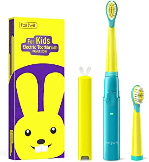 Fairywill Kids Electric Toothbrush Rechargeable, Extra Soft Bristles with Cute Rabbit Cover, Small Toothbrush Head and Soft Tongue Cleaner for Kids, Smart Timer and 3 Modes, Ergonomically Designed