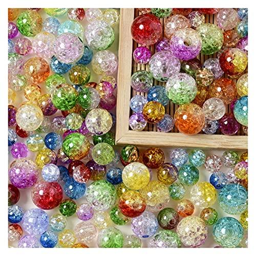 Piedras preciosas sueltas 8 / 10/12 / 14mm Grabornines agrietados perlas de palomitas sueltas espaciador acrílico doble color perlas para joyería haciendo pulsera BRICOLAJE Regalo de los niños AN817