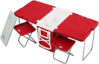 TimmyHouse Rolling Cooler Home Picnic Steel & Plastic Camping w/Table & 2 Chairs Set Red