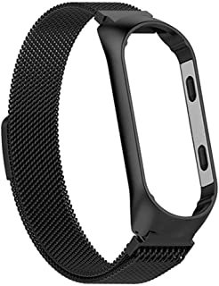Dubocu Milanese Magnetic Stainless Steel Watch Band Strap For Xiaomi Mi Band 4 Bracelet Sports Watch Strap (Black)