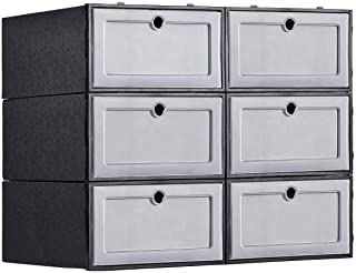 Foldable Stackable Shoe Storage Boxes - Assembleable Shoe Organizer Container 6 Pack, Need to be Assembled