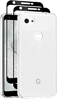 Teayoha case for Pixel 3a XL,with Tempered Glass Screen Protector [2 Pack] Hybrid Hard Plastic and TPU Gel Bumper Protective Cover for Google Pixel 3a XL Pixel3aXLYKLBlack