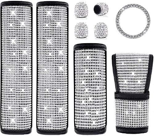 Autozubehör für Damen, 9 Stück Bling Bling Crystal Diamond Auto Sicherheitsgurt Glitzer Autozubehör Schaltknauf-Schutz Gangabdeckung Dekor-Zubehö (Kristall Set 1)
