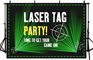MEHOFOTO Laser Tag Party Backdrops Photography Black and Green Laser Battle Birthday Party Night Neon Game On Indoor Gun Laser Tag Glow Photo Studio Backgrounds Banner 7x5ft