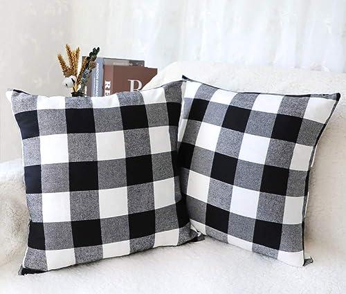 4TH Emotion Set of 2 Cotton Polyester Buffalo Check Plaid Farmhouse Throw Pillow Covers Cushion Case for Fall Home De...