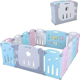 Bamny Valla Infantil Puerta de Seguridad de Plástico para Bebés Con Puerta para Niños de 10 Meses a 9 Años