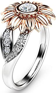 Desirepath Women's Fashion Ring Sunflower Simple and Stylish Ring Alloy Ring