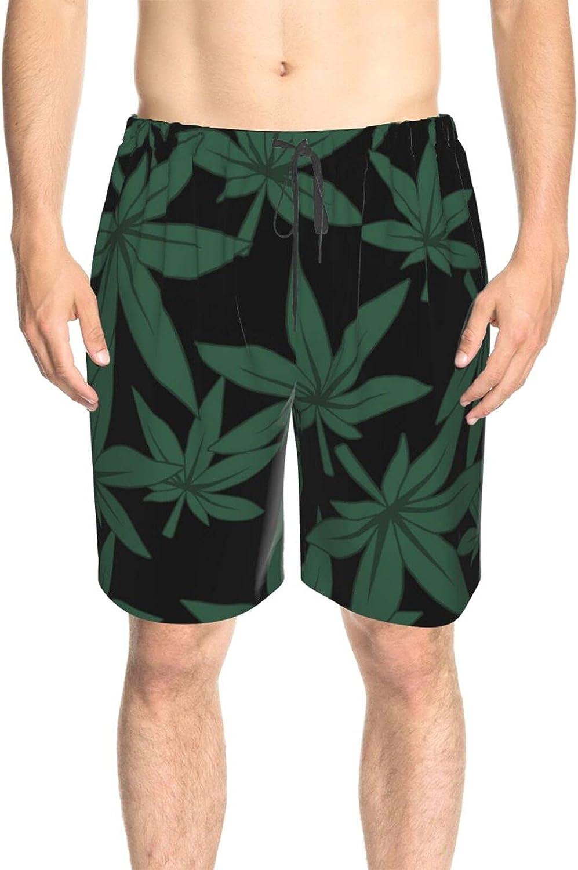 JINJUELS Mens Swim Trunks Weed Leaves Beachwear Board Shorts Drawstring Elastic Swimwear Beach Shorts with Pockets