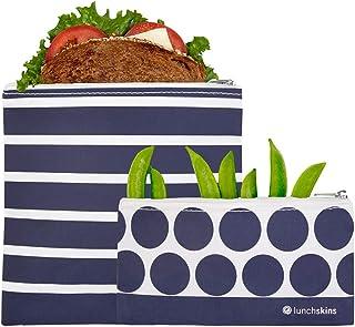 """Lunchskins - Juego de 2 bolsas geométricas con cierre, Paquete de 2, Azul geométrico, 6.5 x 7"""", 1"""