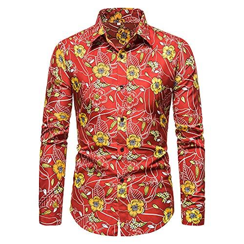 Camisa de Solapa para Hombre, Moda, Suelta, de Gran tamaño, con Estampado de Tendencias, Informal, cómoda, clásica, básica, de Manga Larga, Camisa M
