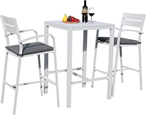 Soleil Jardin Aluminum Outdoor Bar Set, 3-Piece Outdoor Bar Height Table and Chairs Set, Counter Height Bar Stools with Cushions & Slatted High Top Bar Table for Patios, Backyard, Poolside, White