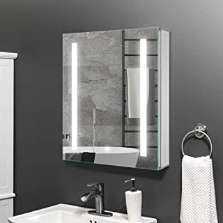 Janboe Bathroom Storage Cabinet with Lights Single Door Bathroom Cabinet Wall Mounted with Mirror 60CM Wide in Silver, Dim...