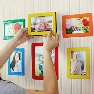 Iron Material Surface Magnetic Picture Frames for Refrigerator Colorful Hexagon Magnetic Photo Frame Locker Dishwasher Black Thick Strong Magnets Photo Album Holder Decor for File Cabinet