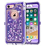 Anuck Case for iPhone 8 Case, for iPhone 7 Case (4.7 inch), 3 in 1 Hybrid Heavy Duty Defender Case Sparkly Floating Liquid Glitter Protective Hard Shell Shockproof TPU Cover - Purple