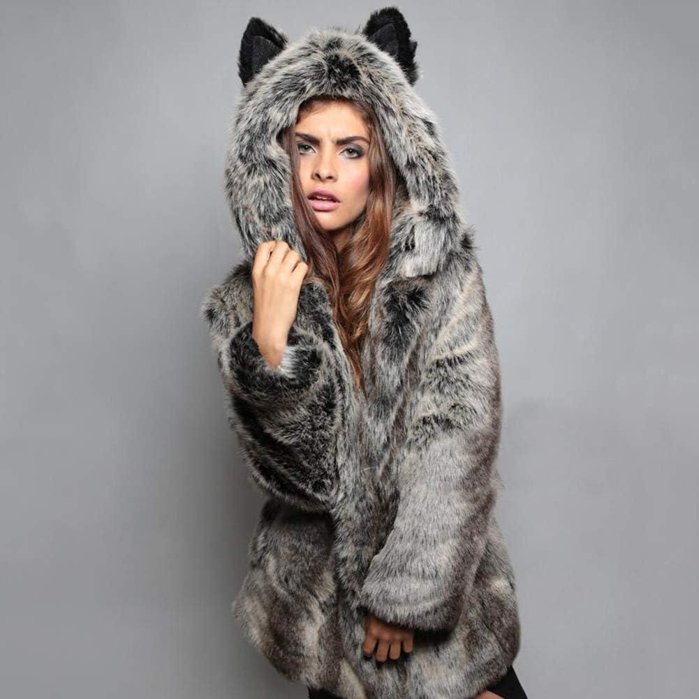 dSNAPoutof Women Winter Coat, Cute Luxury Long Sleeve Faux Fur Thick Ears Hood Plus Size Warm Jacket for Girls Party Travel Outdoor Shopping Street Wear Grey XL