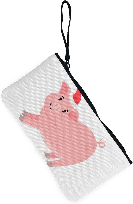 AORRUAM Happy Pink Pig Canvas Coin Purse,Canvas Zipper Pencil Cases,Canvas Change Purse Pouch Mini Wallet Coin Bag