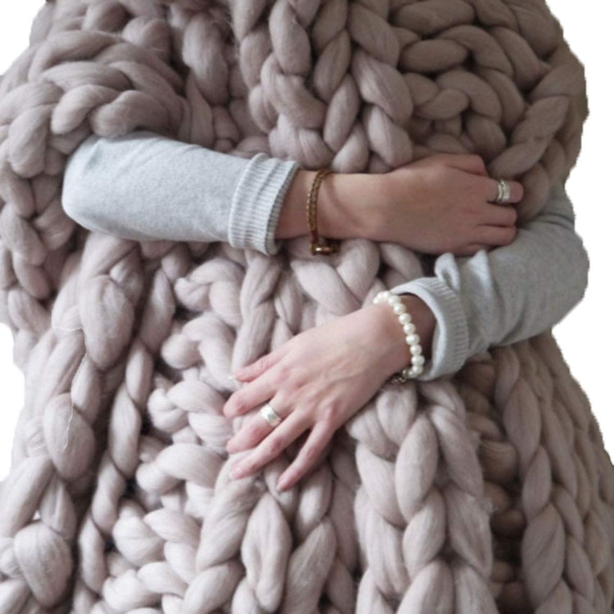 QWERTYUKJ Chunky Knit Blanket Hand Made Super Wool Indianapolis Mall Throw Max 69% OFF Merino