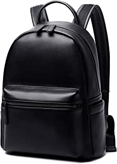 Ziqi PU Leather Waterproof Business Travel School College Bookbag 15.6 Inch Laptop Computer Backpack for Mens and Women Black